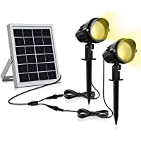 Luz Solar para Exterior, MEIKEE Foco Solar Blanca Cálido, 3000k Super Brillante Iluminación, 270º Gran Angular de Ajuste, Lámpara Solar Exterior Impermeable IP66 para Jardín/Camino/Terraza