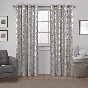 Exclusive Home Curtains Modo Metallic Geometric Window Curtain Panel Pair with Grommet Top, 54x108, Natural, 2 Count