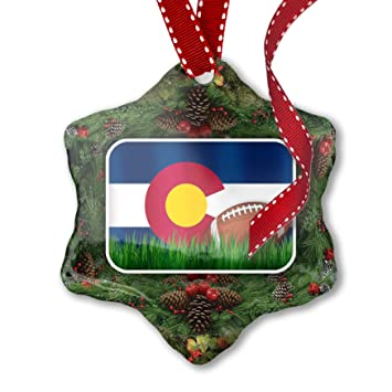 2bc98f76bc7 Amazon.com  NEONBLOND Christmas Ornament Football with Flag Colorado ...