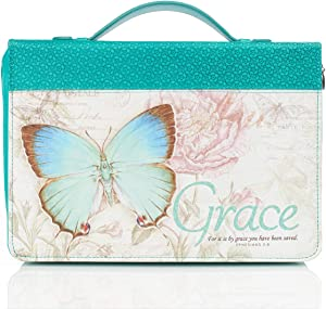 Teal Botanic Butterfly Blessings Fashion Bible Cover   Grace Ephesians 2:8   Bible Case Book Cover, Large