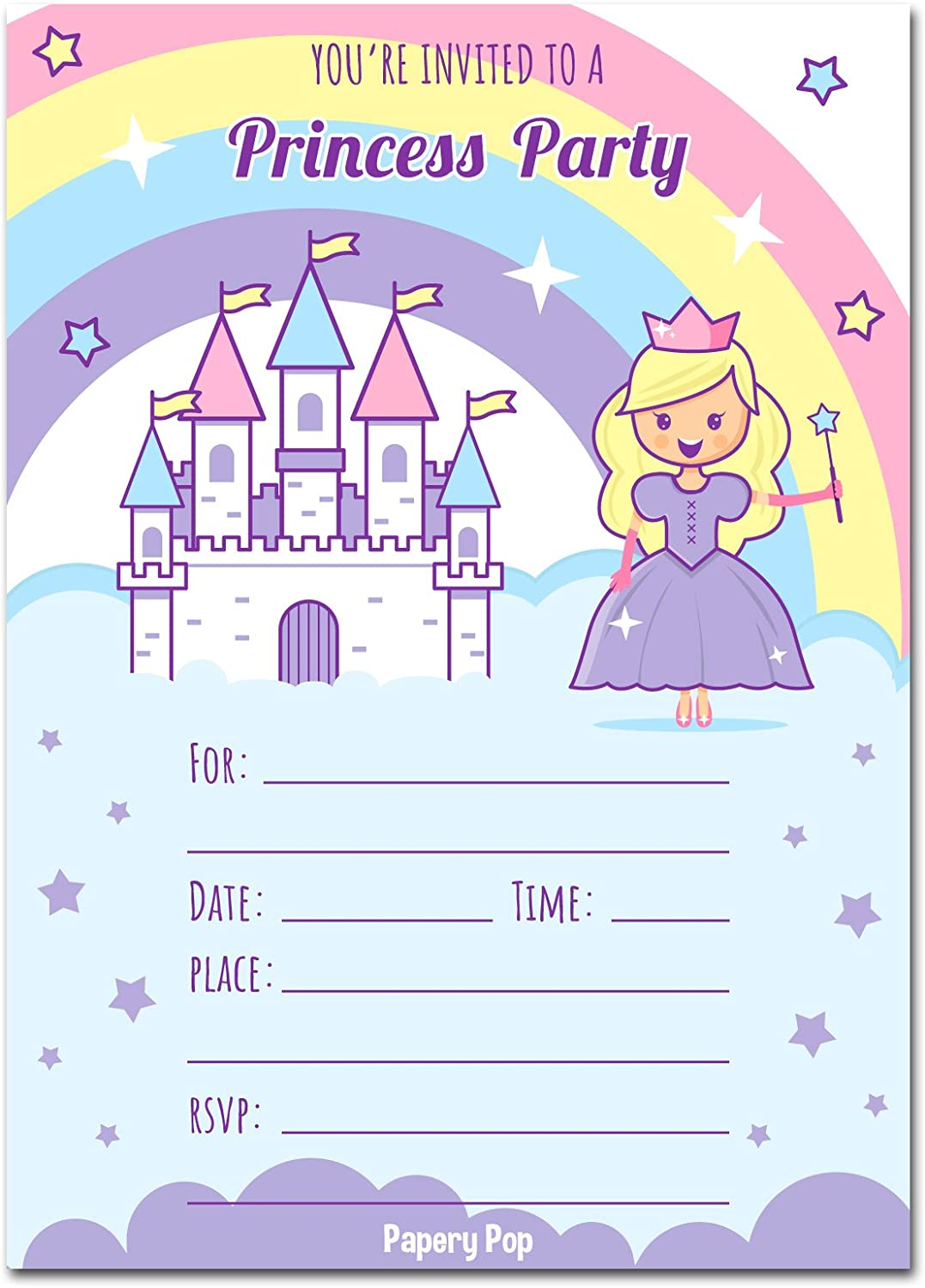 Magical Fairy Princess Birthday Party Invitations 20 5x7 Fill in Cards with Twenty White Envelopes by AmandaCreation 20 5x7 Fill in Cards with Twenty White Envelopes by AmandaCreation Amanda Creation