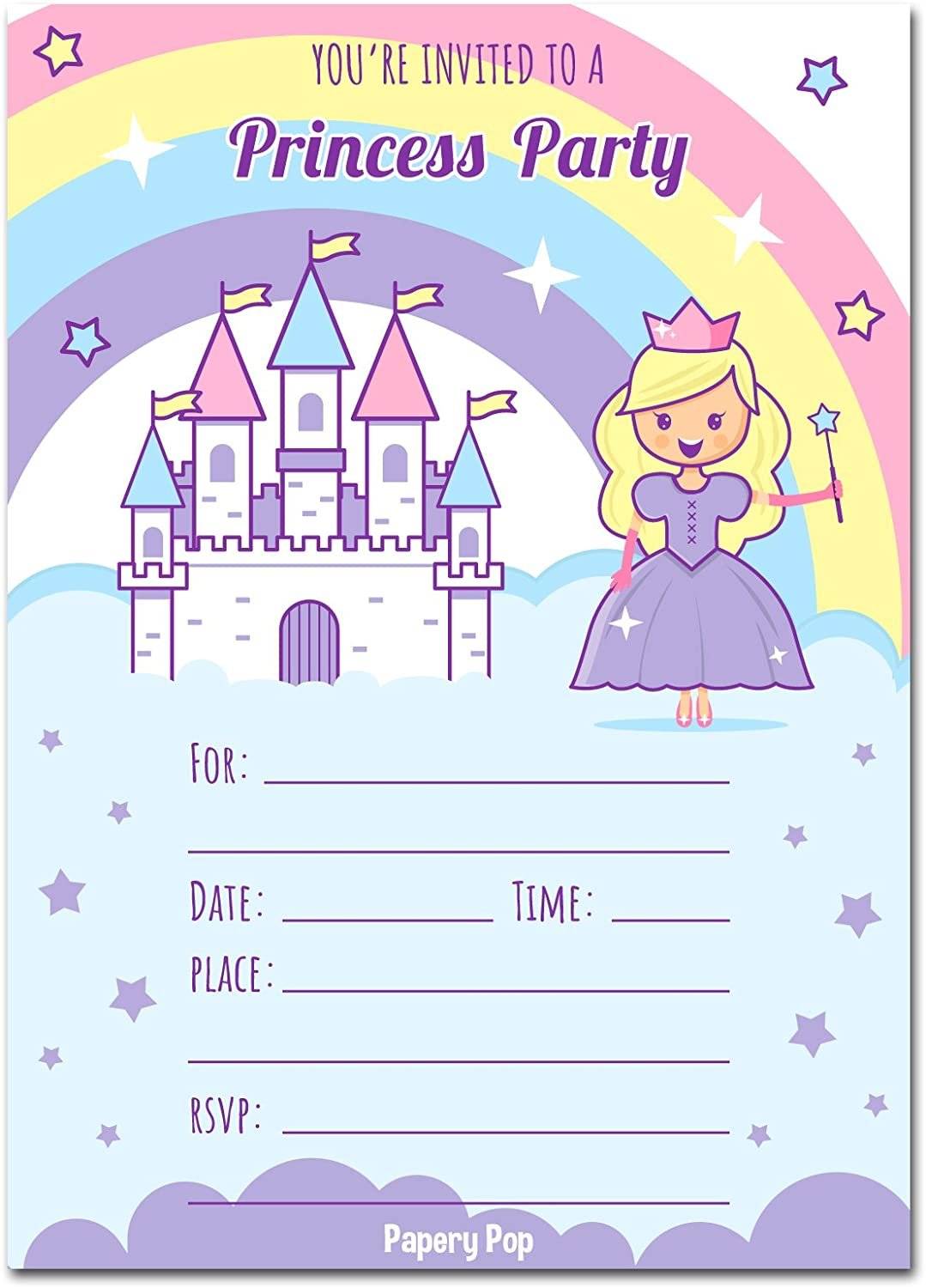 Papery Pop Princess Birthday Invitations with Envelopes 15 Count Kids Birthday Party Invitations for Girls