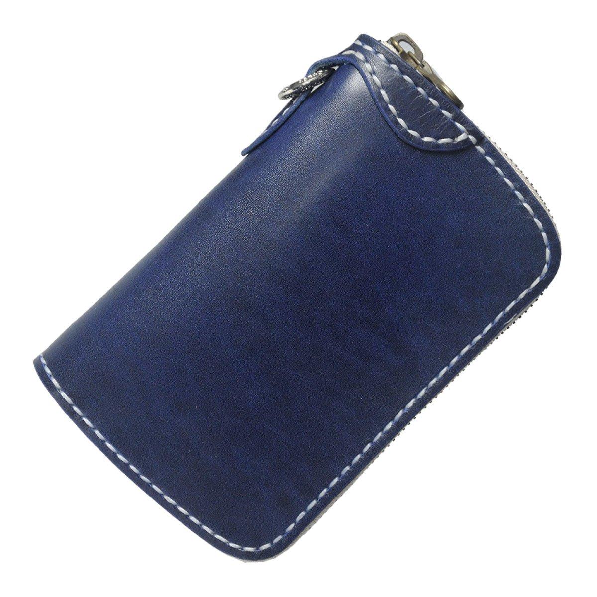 【サムライクラフト】 ラウンドファスナーウォレット タイプ3-R ミドルサイズ ラウンドタイプ ルガトショルダー ネイビー 革財布 ハンドメイド B01HVGBG62  リングカラー/真鍮