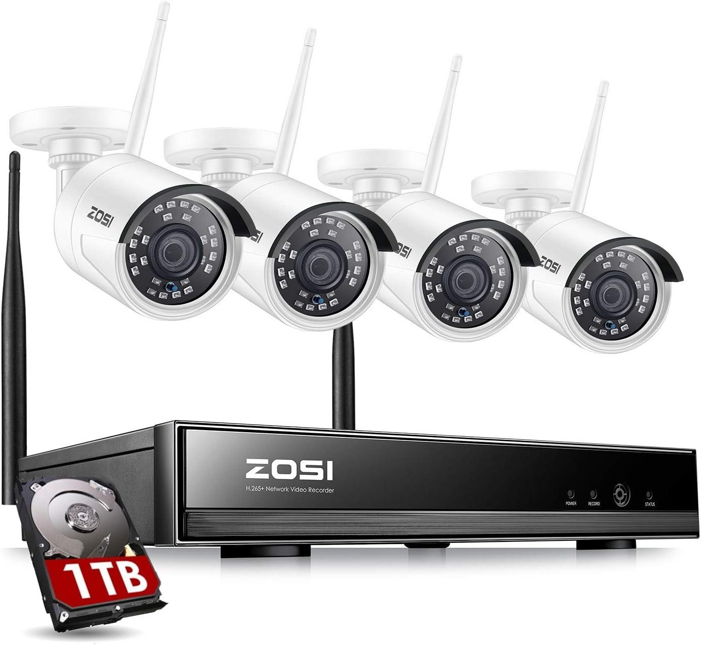 ZOSI Kit de Cámaras Seguridad WiFi 1080P Sistema Vigilancia Inalámbrica 8CH H.265+ NVR con 4pcs Cámaras de Videovigilancia Exterior, IP67 Impermeable, Detección de Movimiento,1TB Disco Duro