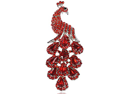 bd4ee9670cf Image Unavailable. Image not available for. Color: Alilang Womens Antique  Ruby Red Crystal Rhinestones Peacock Bird Brooch Pin