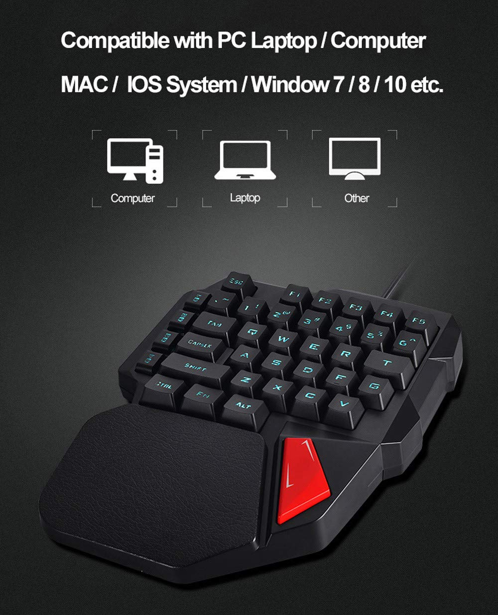 Hisoul One-Handed Gaming Keyboard, K108 Wired 38 Keys LED Backlit USB Ergonomic Gaming Keyboard for PUBG CNF and LOL Gamer (Black) by Hisoul (Image #4)