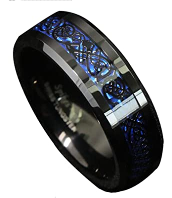 ANDESWF 8mm Black Tungsten Carbide Black Celtic Dragon Blue Carbon