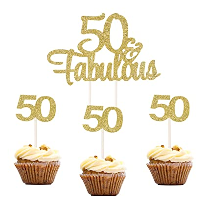 Topoox 37 Pcs Gold Glitter 50th Number 50 Cupcake Topper Picks 50 Fabulous Cake Topper For Birthday Anniversary Party Decorations