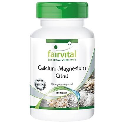 citrato de magnesio de calcio - 1 mes - VEGAN - 180 cápsulas - citrato de