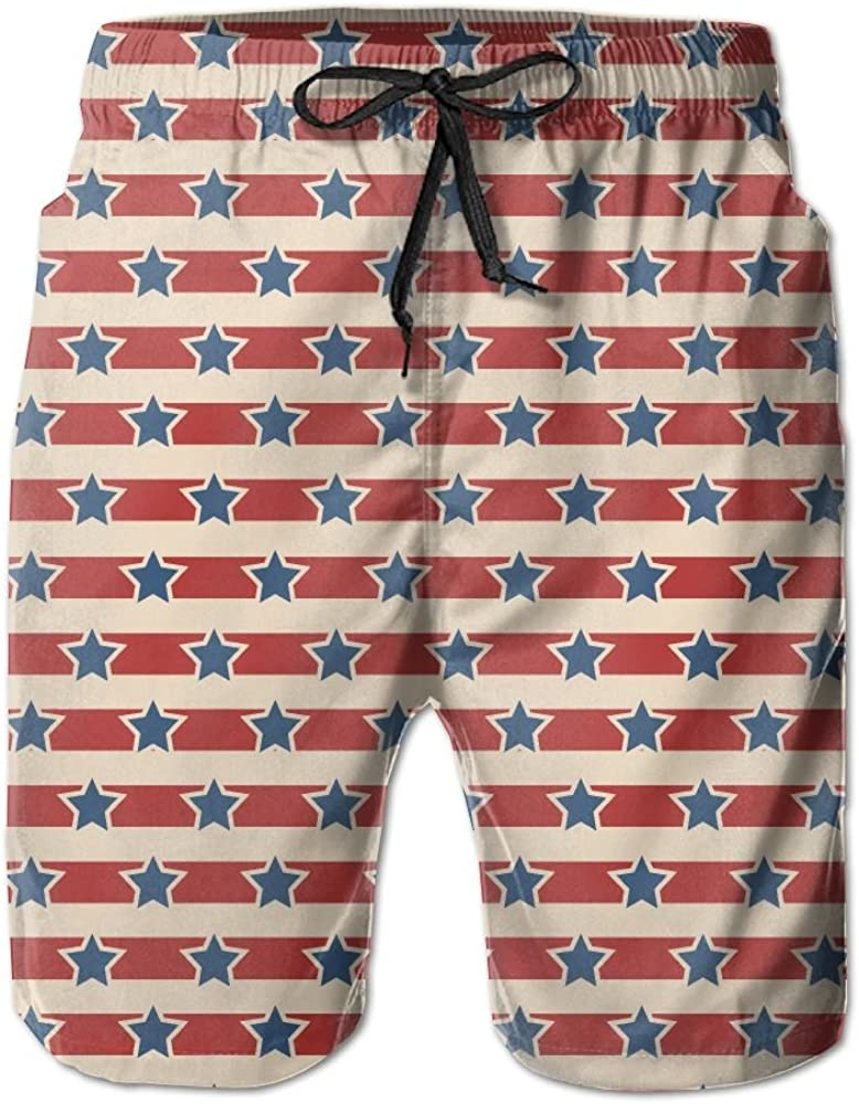 LUASD Mens American Patriotic Blue Stars and Red Line Quick Drying Moisture Perspiration Beach Pants Swim Trunks