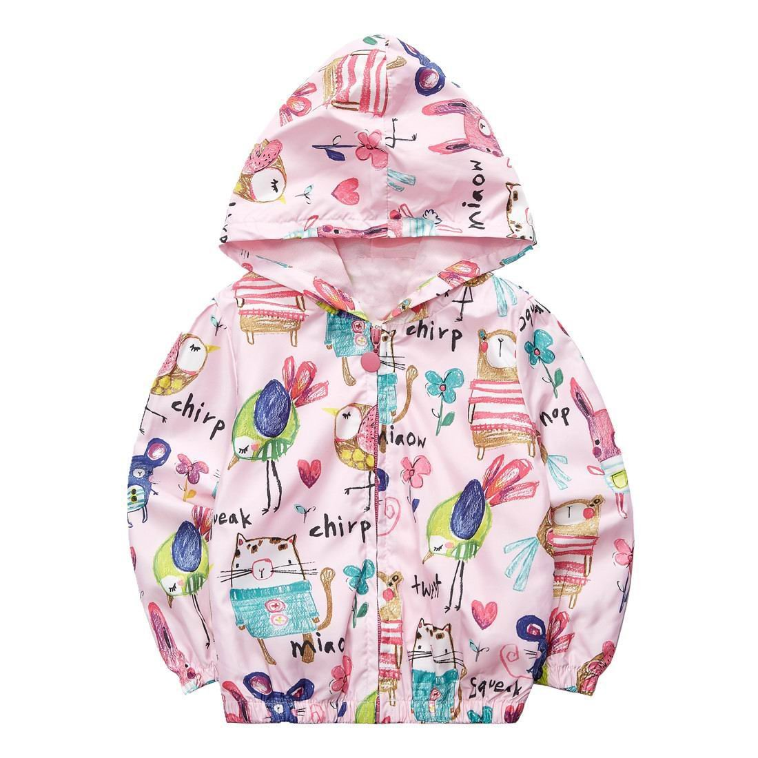 Sooxiwood Little Girls Hoodies Cartoon Printing Bird Size 5 Pink by Sooxiwood