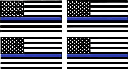 Wheezeway Aufkleber Amerikanische Flagge Dünne Blaue Linie 5 75 X 3 Proportionale Stoßstangen Aufkleber 4 Stück Sport Freizeit