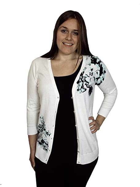 Amazon.com: AGB Impreso de la mujer Embellished Button-Front ...