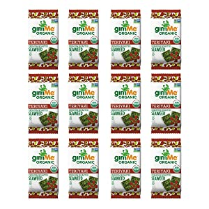 gimMe Organic Roasted Seaweed Sheets - Teriyaki - 12 Count - Keto, Vegan, Gluten Free - Great Source of Iodine and Omega 3's - Healthy On-The-Go Snack for Kids & Adults