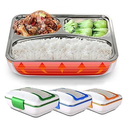 Lunch Box Hornillo eléctrico Bandeja 3 compartimentos acero inoxidable extraíble con cierre sellador portátil schiscetta Box