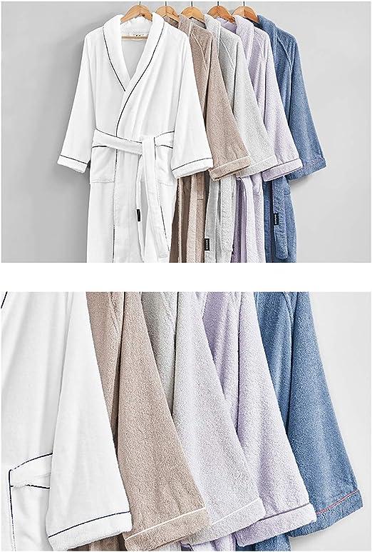 XUMING para Hombre de Las señoras de Albornoz Bata Bata de baño de Rizo Vestidos 100% de algodón con Capucha Batas de Toalla Mujer de los Hombres,Púrpura,M: Amazon.es: Hogar
