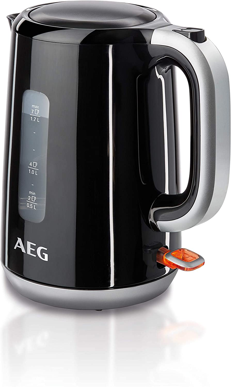 AEG EWA3300 Hervidor Serie 3, Temperatura hasta 100ºC, Capacidad de 1.7L, Función Apagado Automático, Filtro Antical Extraible, Nivel Agua, Indicador Luminoso, 2.2 W, plástico, Negro