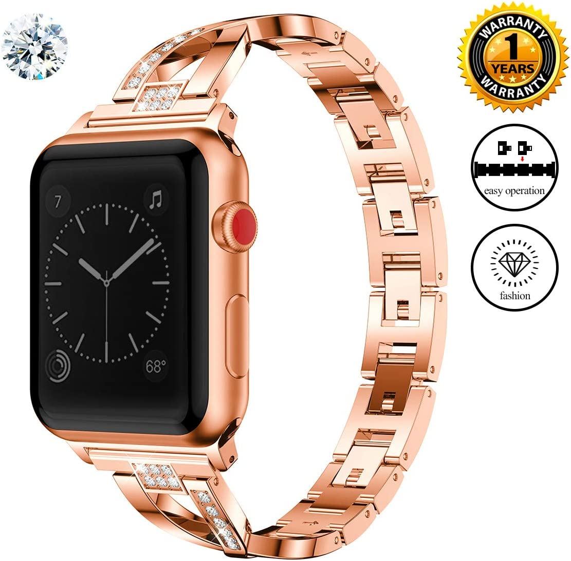 Jomoq Bling Replacement Bands Compatible for Apple Watch Band 38mm 40mm 42mm 44mm Women Iwatch Series 4 3 2 1 Accessories Stainless Steel Wristband, Diamond Rhinestone Sport Strap (Small, Rose Gold)