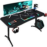 Furmax 55 Inch Gaming Desk T-Shaped PC Computer Table with Carbon Fibre Surface Free Mouse Pad Home Office Desk Gamer Table P