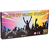 Red Star 50 x 8 NEON GLOW STICKS WITH 50 CONNECTORS - RAVE NIGHT GLOW PARTY UV BRACELETS