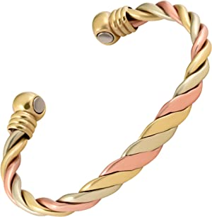 MAGNETJEWELRYSTORE Magnetic Therapy Copper Bracelet High Power Triple Cuff