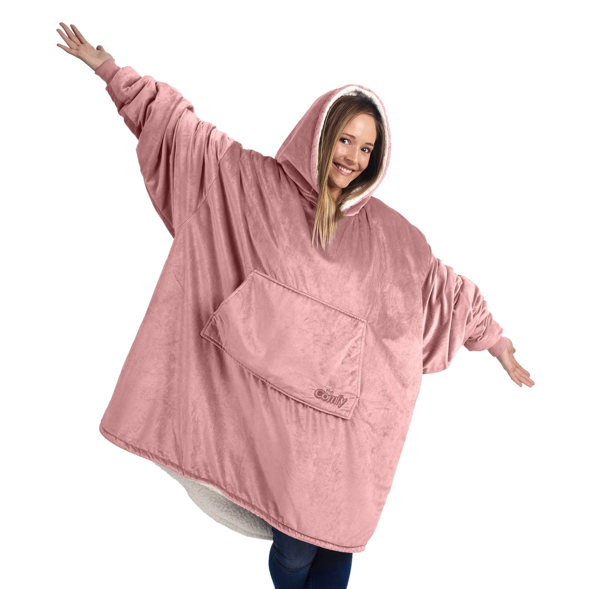 THE COMFY: Original Blanket Sweatshirt, Seen on Shark Tank, Invented by 2 Brothers, Warm, Soft, Cozy, Multiple Colors, 1 Size Fits All, Women, Wife, Girls, Friends (Blush) by THE COMFY