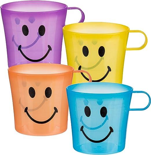 Aire Libre Vasos - Pack de 4 Plástico Smiley Tazas Café - Genial ...