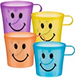 Everyday Use - Pack of 4 Plastic Smiley Face Cups Mugs - Number 1 Selling Ideal Fun Toys & Games Present Gift Idea for Christmas Xmas Stocking Filler Top Ups Birthdays Easter Rewards Treats Pocket Money - Boy Boys Girl Girls Kids Children Child Age 5+ One Supplied
