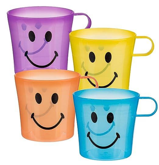 Aire Libre Vasos - Pack de 4 Plástico Smiley Tazas Café ...