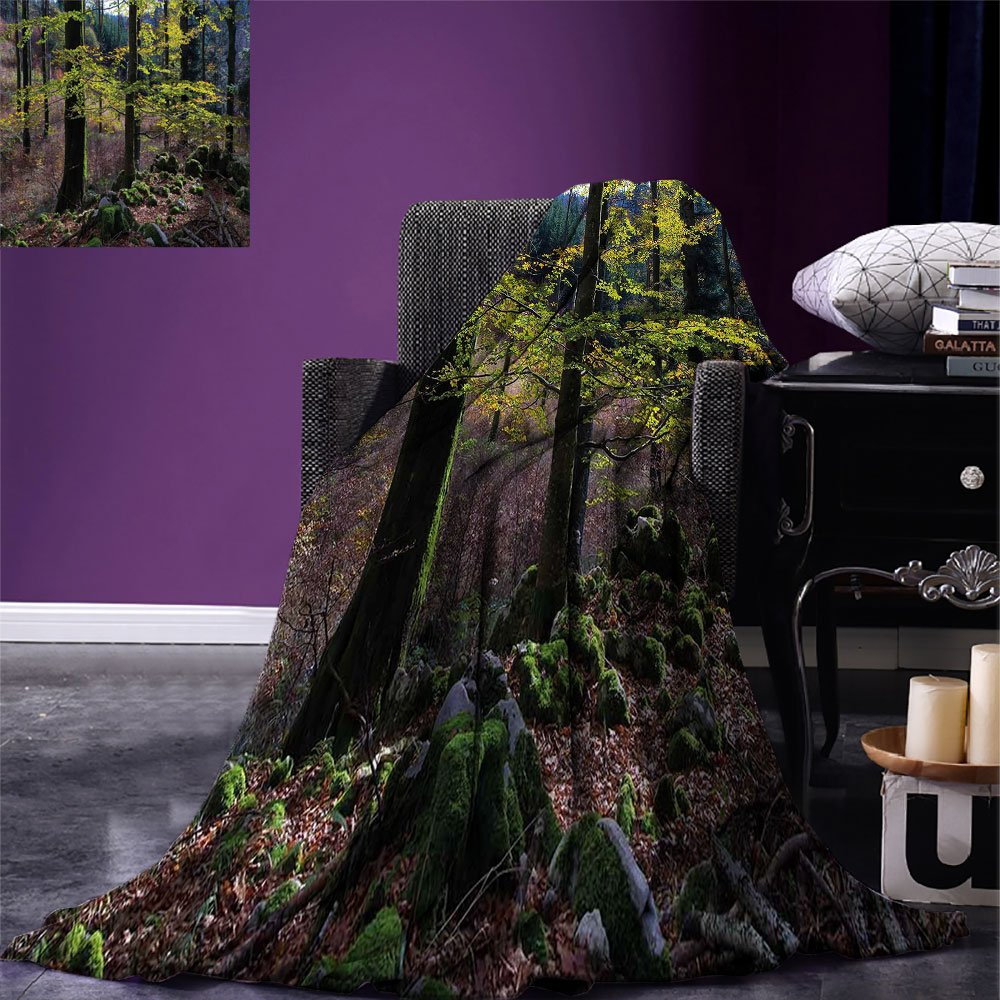 smallbeefly Forest Digital Printing Blanket Natural Scenery Trees Autumn Season in Woods Wilderness Rural Growth Eco Photo Summer Quilt Comforter Green Pale Pink