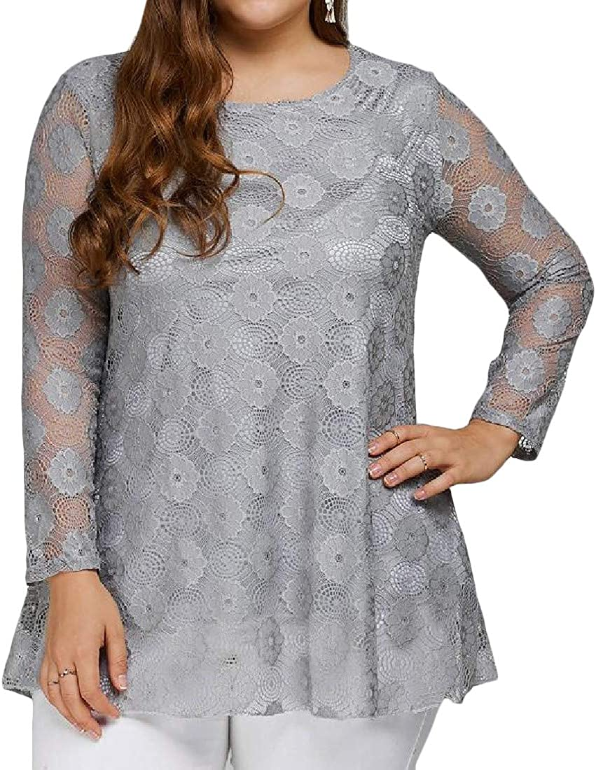 Wofupowga Womens Patch Long Sleeve Lace Round Neck Hollow Vogue T-Shirt Top