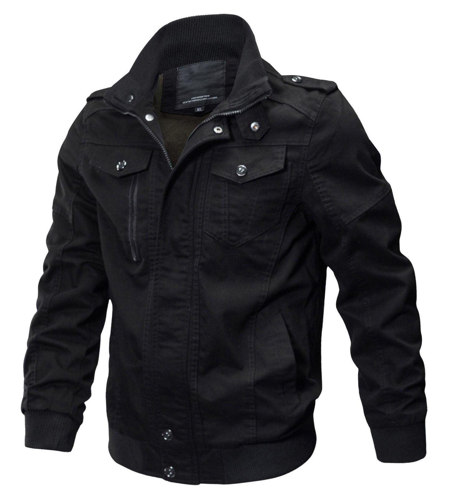 WULFUL Men's Cotton Military Jackets Casual Outdoor Coat Windbreaker Jacket Black M by WULFUL