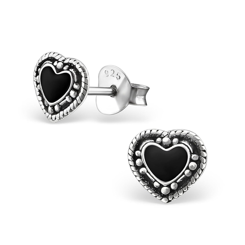 Tata Gisele© pendientes de plata 925/000envejecido y resina negra–corazón 7x 6mm Tata Gisèle 3701181712115