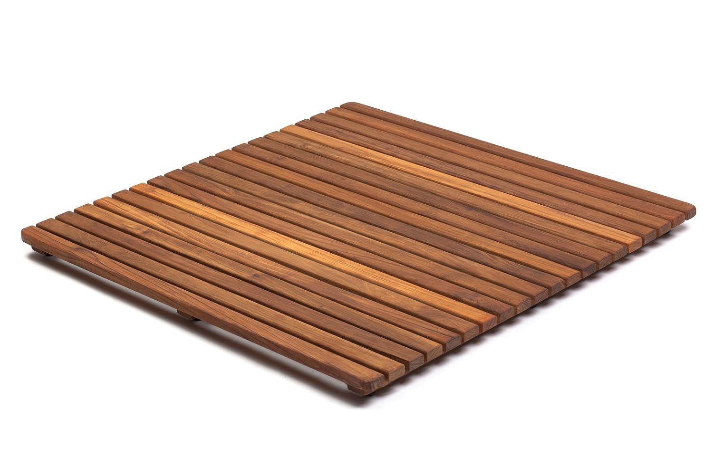 asinox tek4a6161 caillebotis de douche bois marron 61 x 61 x 4 cm ... - Caillebotis Salle De Bain Teck