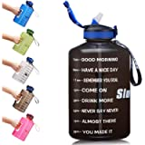 SLUXKE Gallon Water Bottle with Straw and Motivational Time Marker Easy Sipping Leakproof BPA Free 128OZ/74OZ Large…