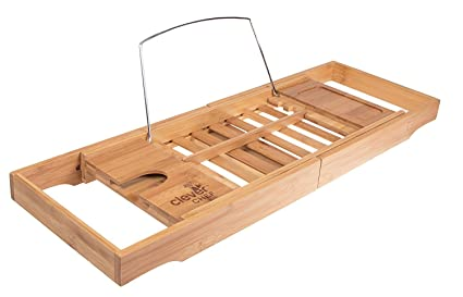 Good Premium Bamboo Bath Tub Caddy | Expandable Bath Tray With Wine Holder, Book  Rest,