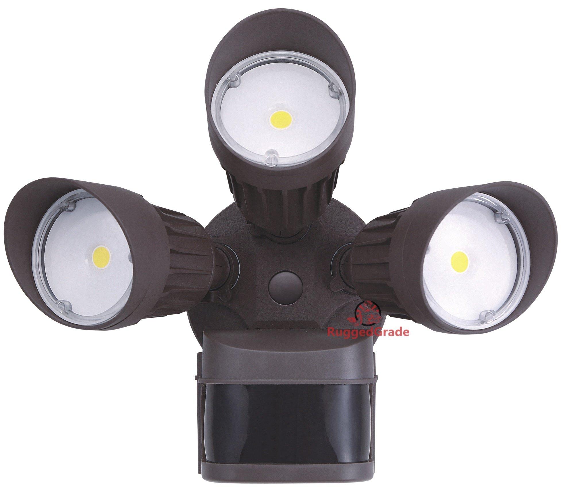 30 Watt LED Motion Sensor Flood Light – Bronze Color Housing – 2,600 Lumen – Super Wide 240 Degree Motion Sensor – 3000K Warm White – 20 Yr - LED Motion Flood Light - LED motion sensor light outdoor