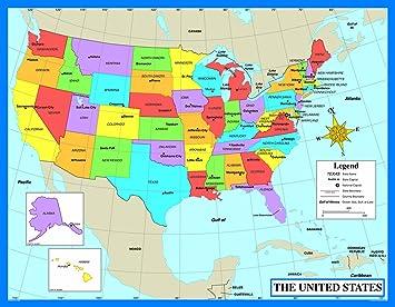 Amazoncom Carson Dellosa Map Of The United States Chart - Map of the united states with states