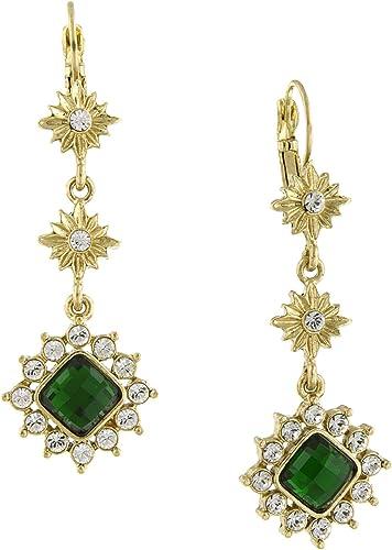 Tono Plata Antigua Verde Cristal Lágrima Encantos Collar Y Aretes