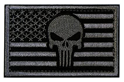 Amazon.com  Tactical Patches of USA US American Flag with Punisher ... 1dbd096a97c