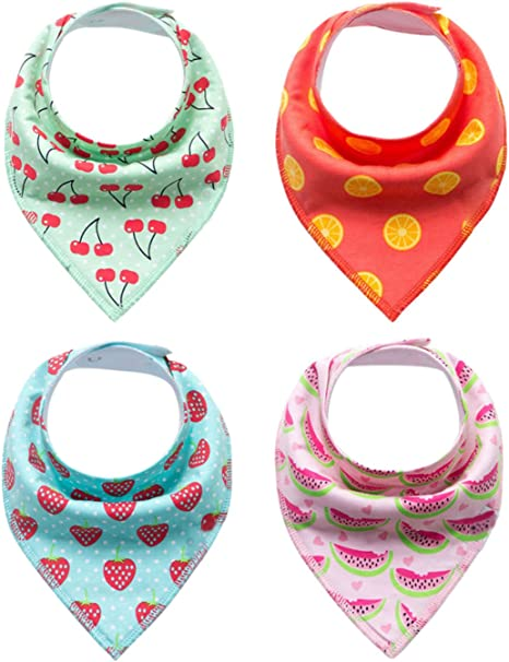 Happy Cherry - Pack de 4 Baberos Ajustable con 2 Botones para ...