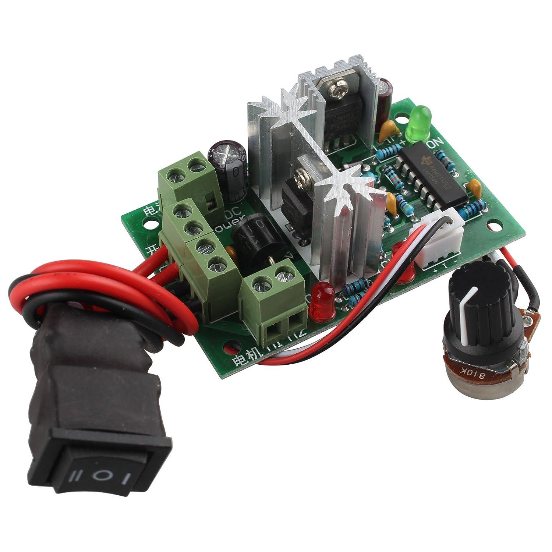 HALJIA CCM2 Adjustable Volt DC Motor Speed Controller 10V 12V 24V 30V 120W PWM Forward Reverse Reversing Switch
