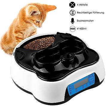Pedy 2 in 1 Futterautomat Katze, Hund Automatischer Futterspender Pet Feeder mit Timer, LCD Bildschirm und Ton-Aufnahmefunkti