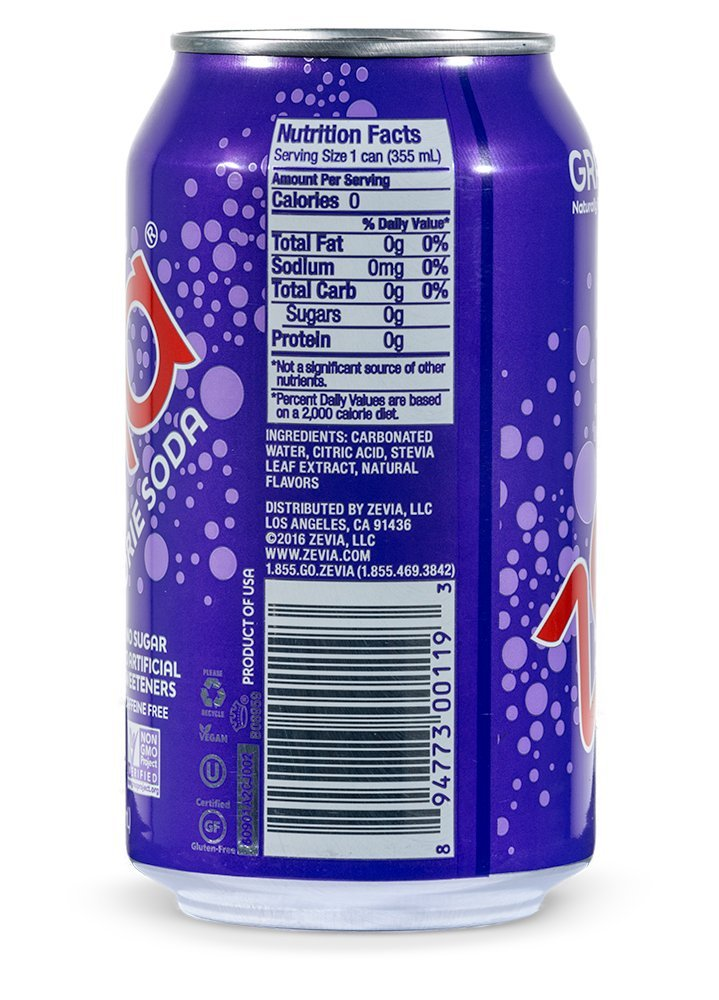 Zevia Zero Calorie Soda Grape Naturally Sweetened Soda 24 12 Ounce Cans Grape Flavored Carbonated