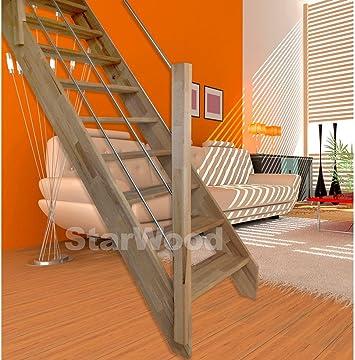 starwood Escaleras Rhodos, ahorro de espacio abierto peldaños, recto, madera de acero inoxidable Barandilla Izquierda recta: Amazon.es: Bricolaje y herramientas