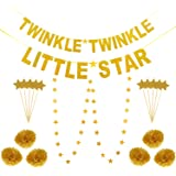 Jovitec Gold Twinkle Twinkle Little Star Banner Star Garlands Pom Pom Flowers and Cupcake Toppers for Home Decoration