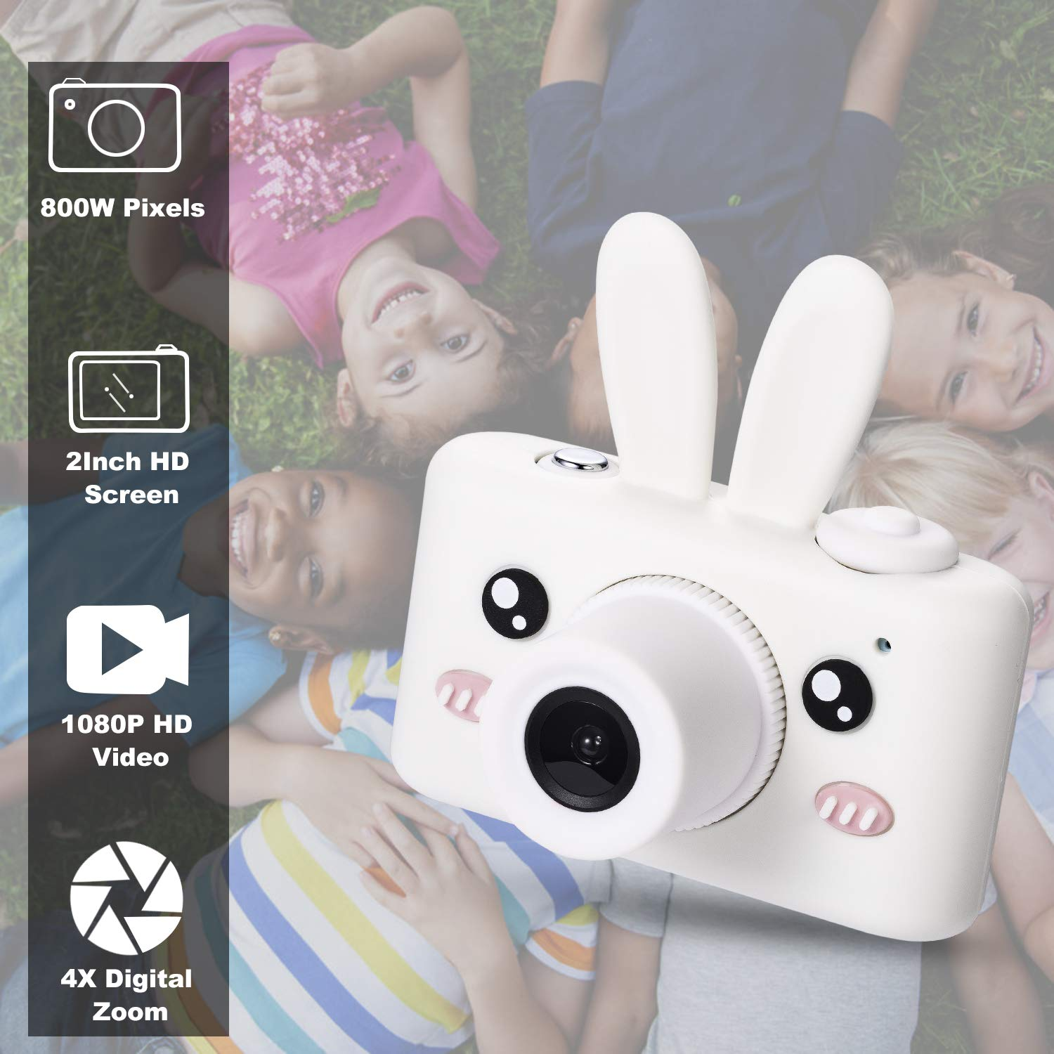 Abdtech Gifts Rabbit Kids Camera, Rechargeable Digital Cameras with Shockproof Soft Cover, Mini Toy Cameras for 5-10 Years Old Girl Boys Including 16GB SD Card, Perfect for Birthday Festival Presents by Abdtech (Image #2)