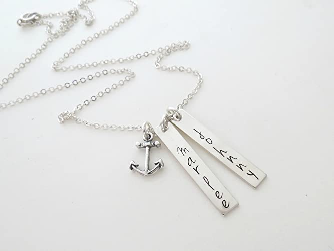 514d038ed604f Amazon.com: Personalized Anchor Necklace | Kids Names | Couples ...