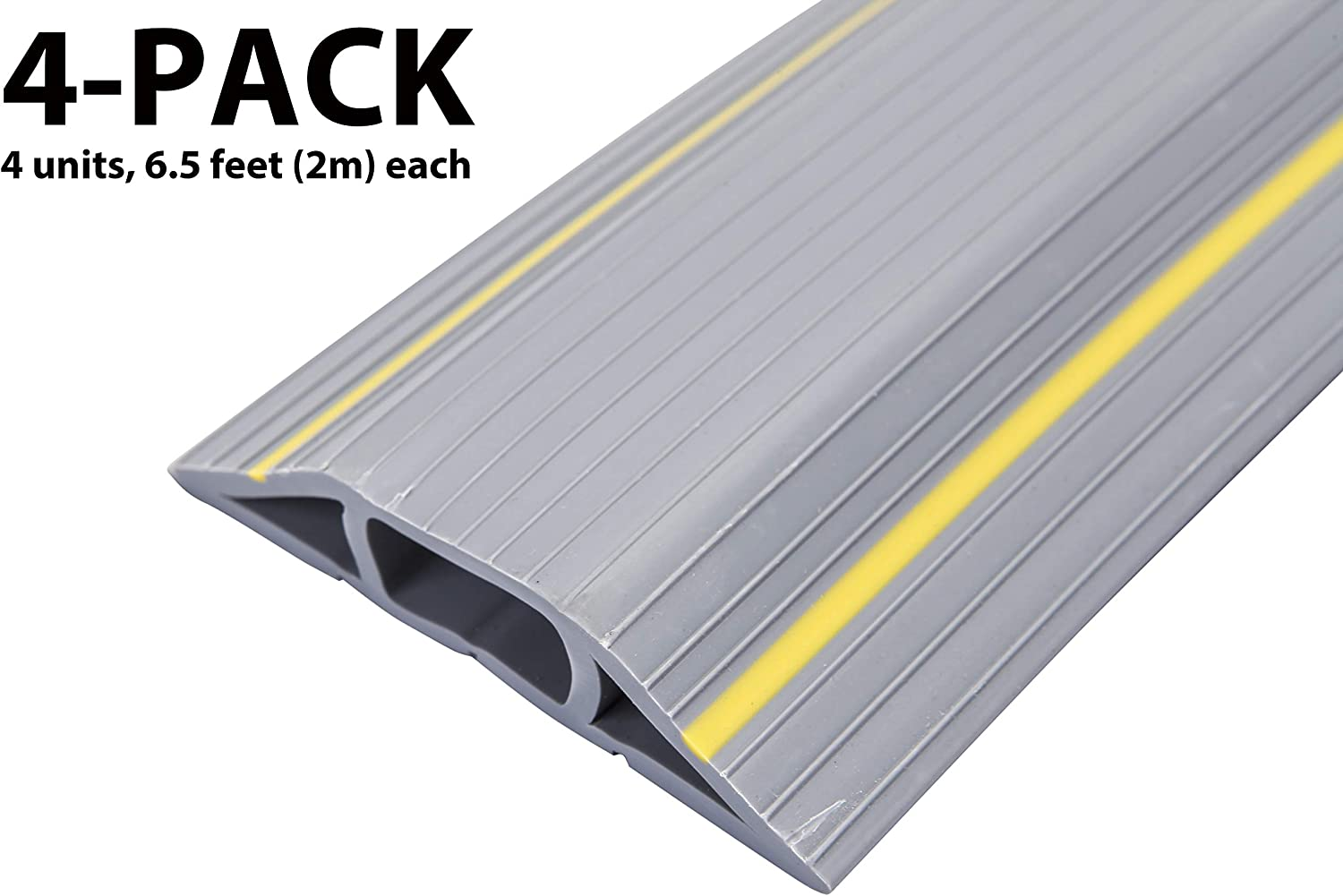 (4-Pack) 6.5 Feet Heavy Duty Cable Protector + Cord Cover - 3 Cord Channels - Durable Gray PVC is Flexible, Odor Free, Easy to Unroll - Conceal Wires at Home, Office, Warehouse, Workshop, Concerts