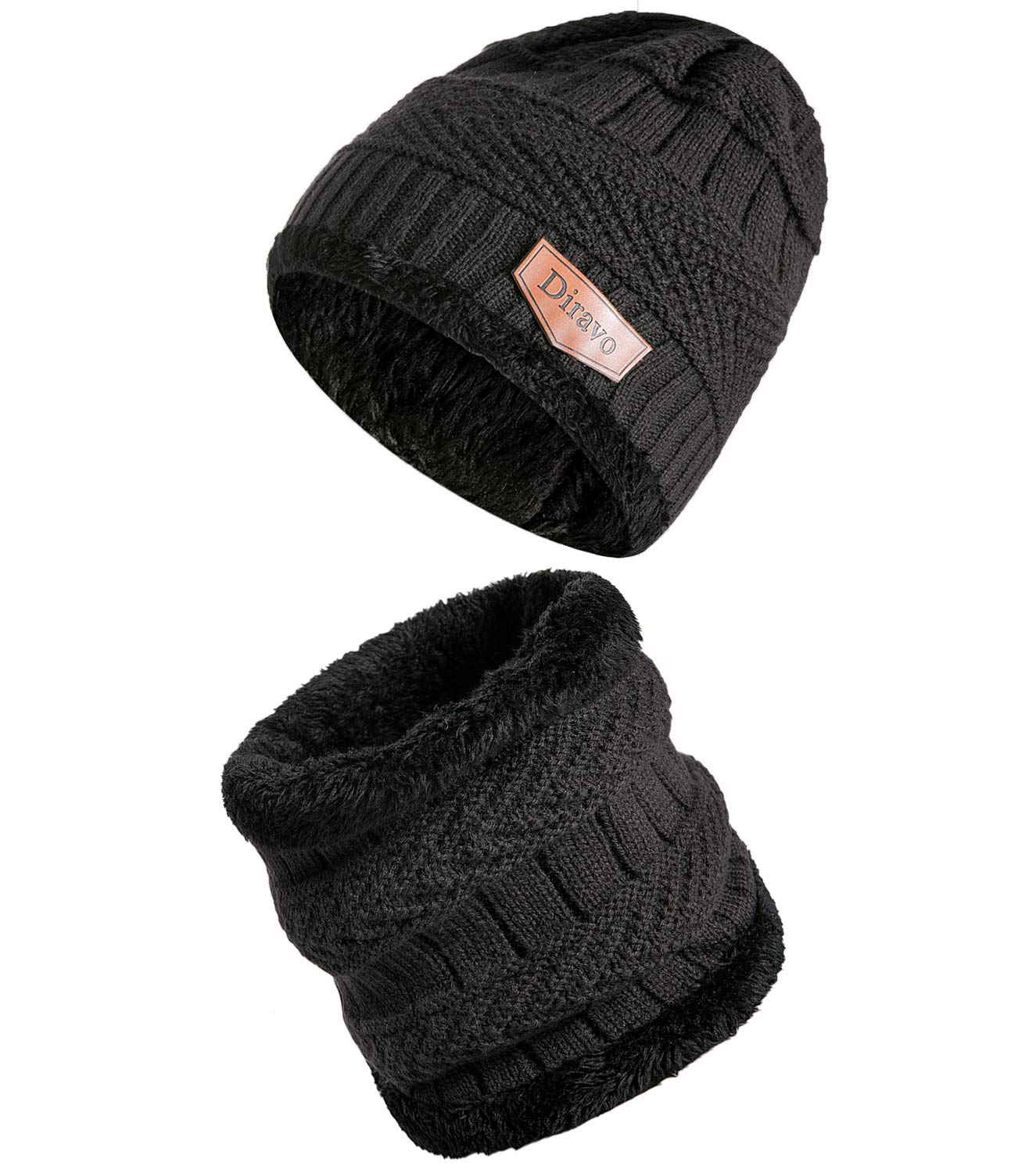 [2 Piece] Beanie Hat Scarf Set-Sloutchy Winter Warm Knit Skull Cap and Scarf for Women Men